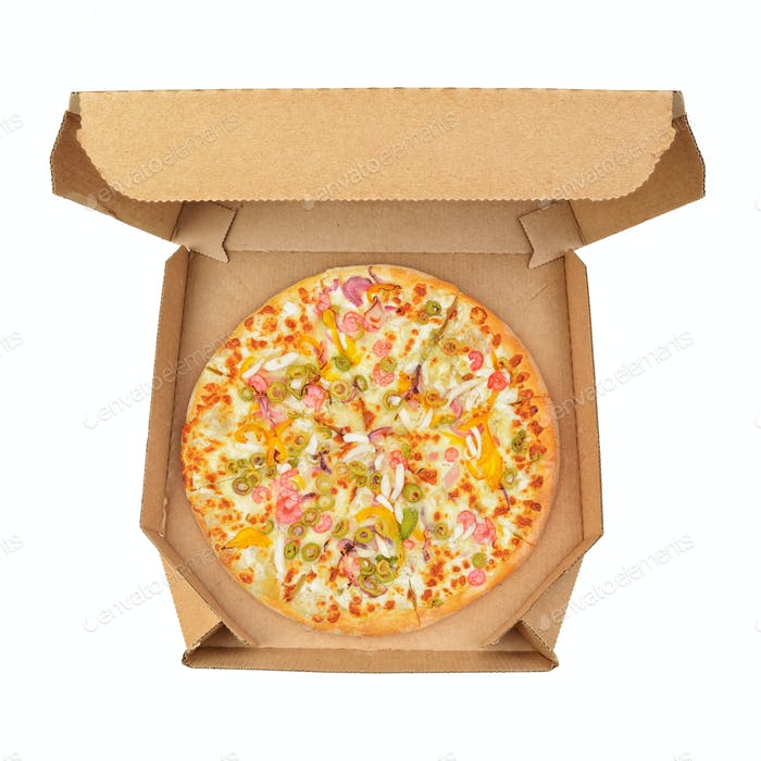 Pizza in take-out box isolated