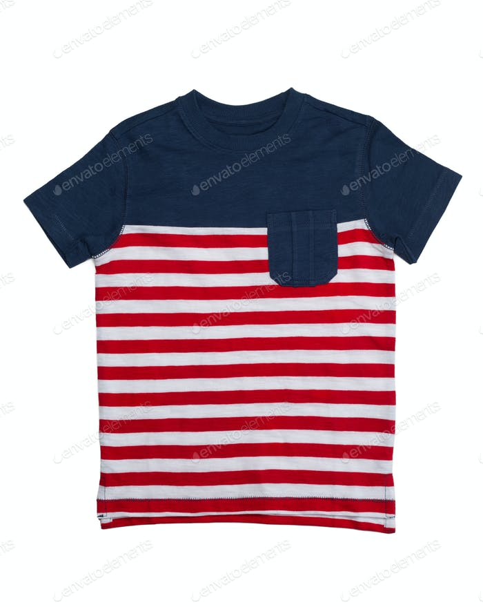 Striped shirt pocket.