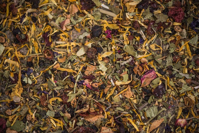 Loose herbal tea with dried flowers and fruits