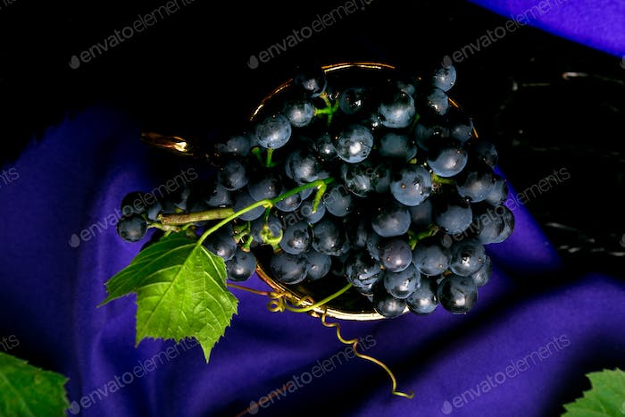 Red wine grapes in golden cup on violet background.