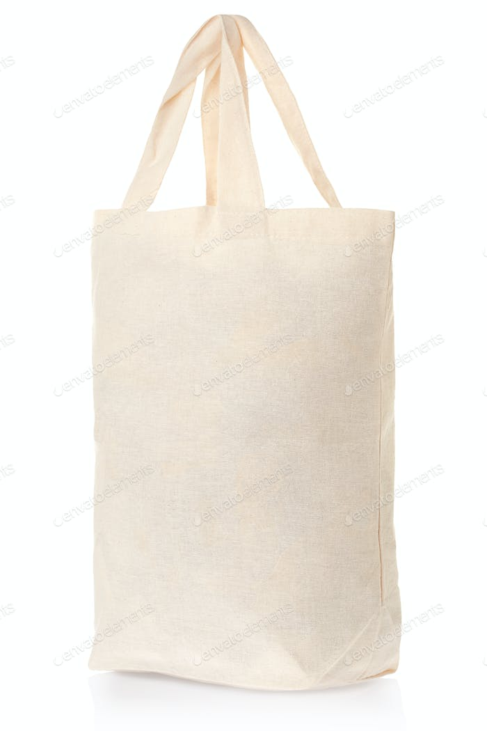Fabric natural canvas bag isolated on white