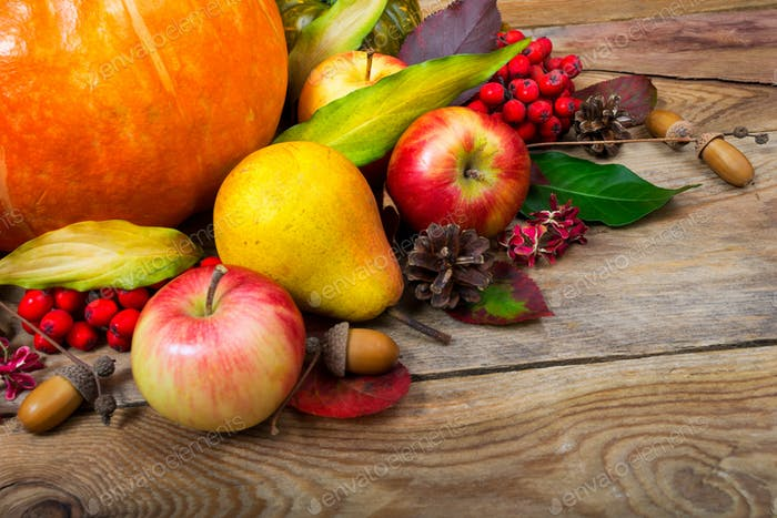 Harvest background with pumpkin, apples, pear, colorful leaves