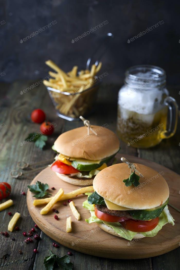 Homemade burger with bun