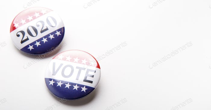 Vote political election pin with patriotic American Stars and Stripes