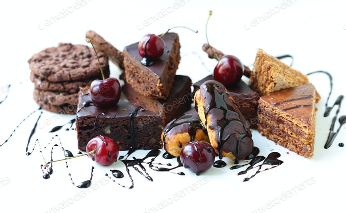 Desserts Cakes on a White Background