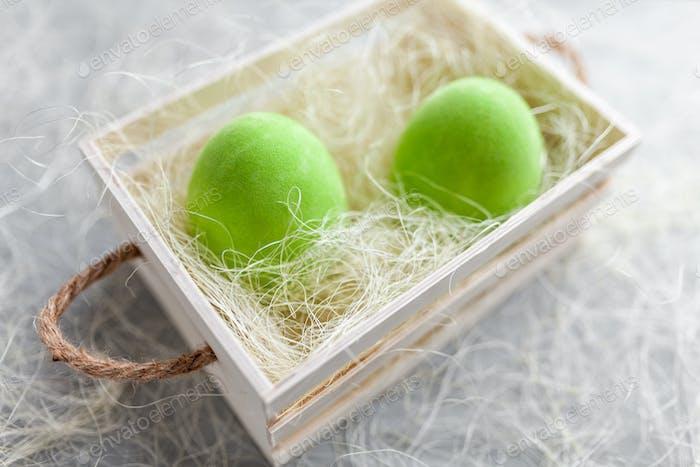 Easter holiday basket full of eggs