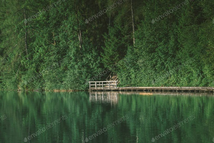 Wooden path on bled lake slovenia.