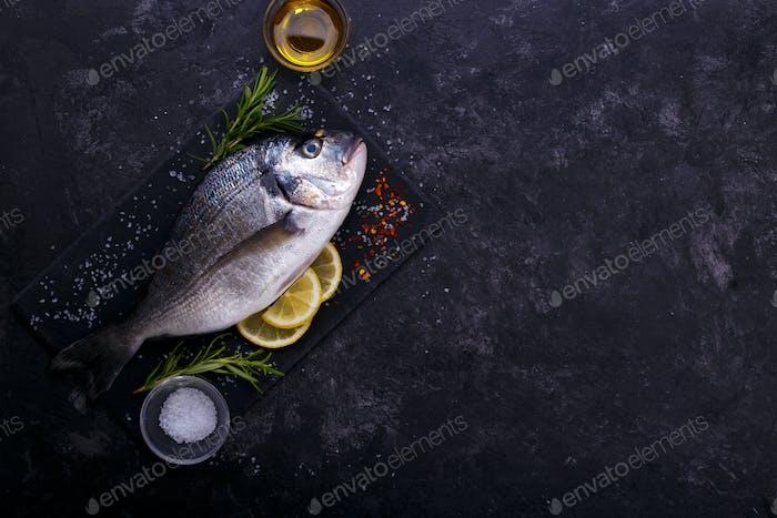 Fresh raw sea bream