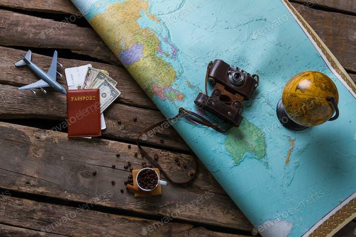 Passport and big map