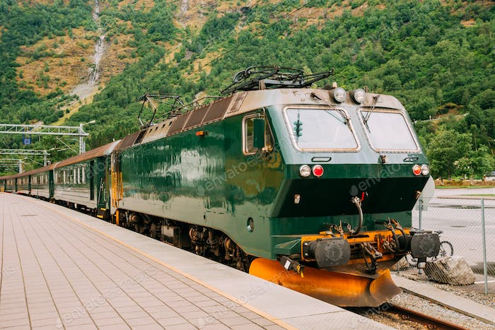 Flam, Norway. Famous Railroad Flamsbahn. Green Norwegian Train N
