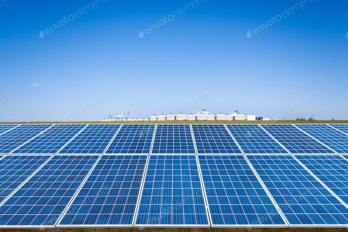 solar energy panel on prairie