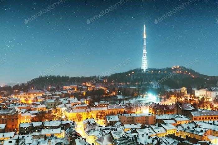 Gorgeus cityscape of winter Lviv city