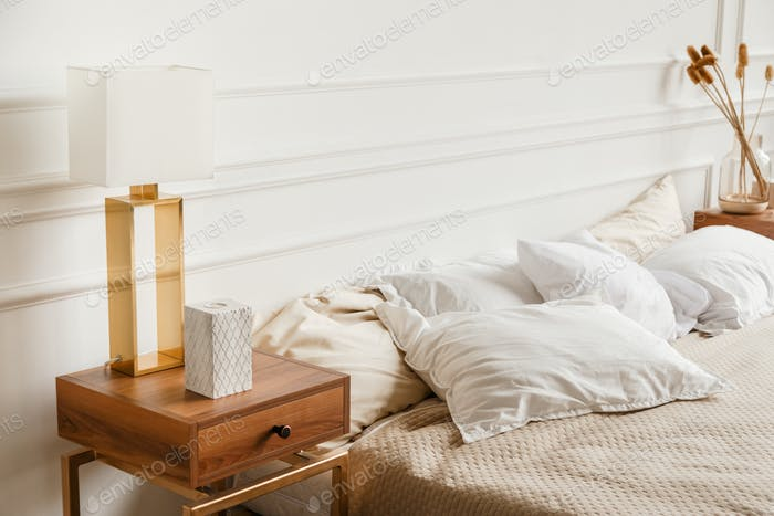 Luxury contemporary bedroom interior with gypsum stucco on white walls