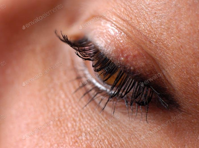 Nahaufnahme des natürlichen weiblichen Auges