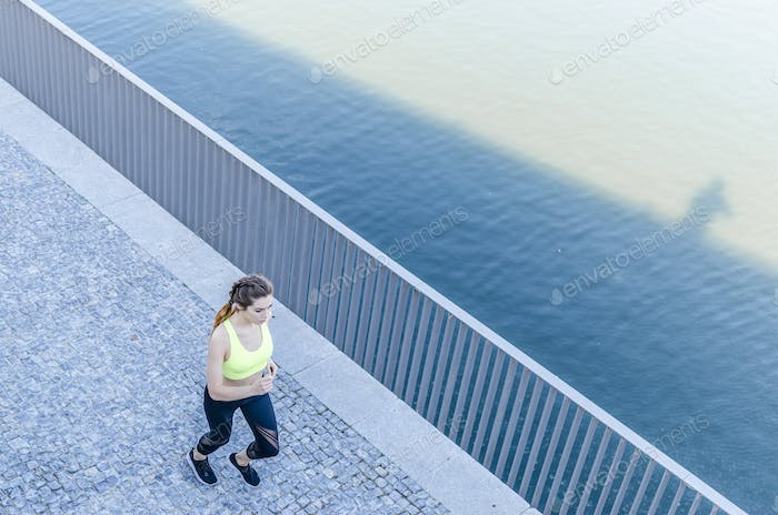 healthy happy woman enjoy jogging running outdoor listening music