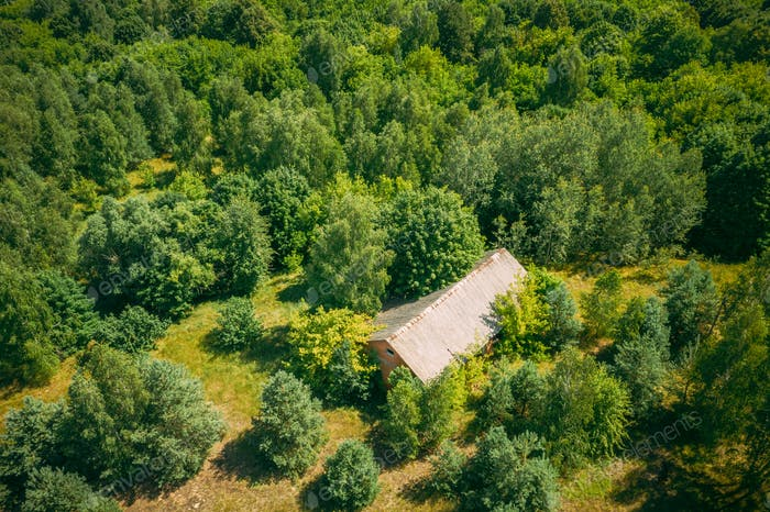 Belarus. Aerial View Of Ruined Cowshed In Chernobyl Zone. Chornobyl Catastrophe Disasters