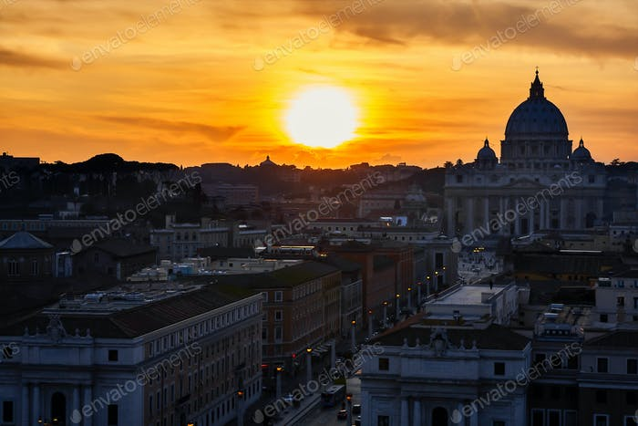 Rome Silhouette At Sunset