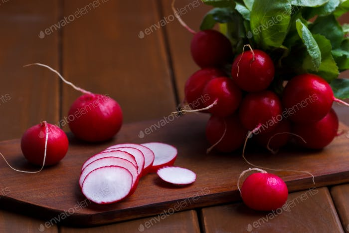 ripe sliced radish