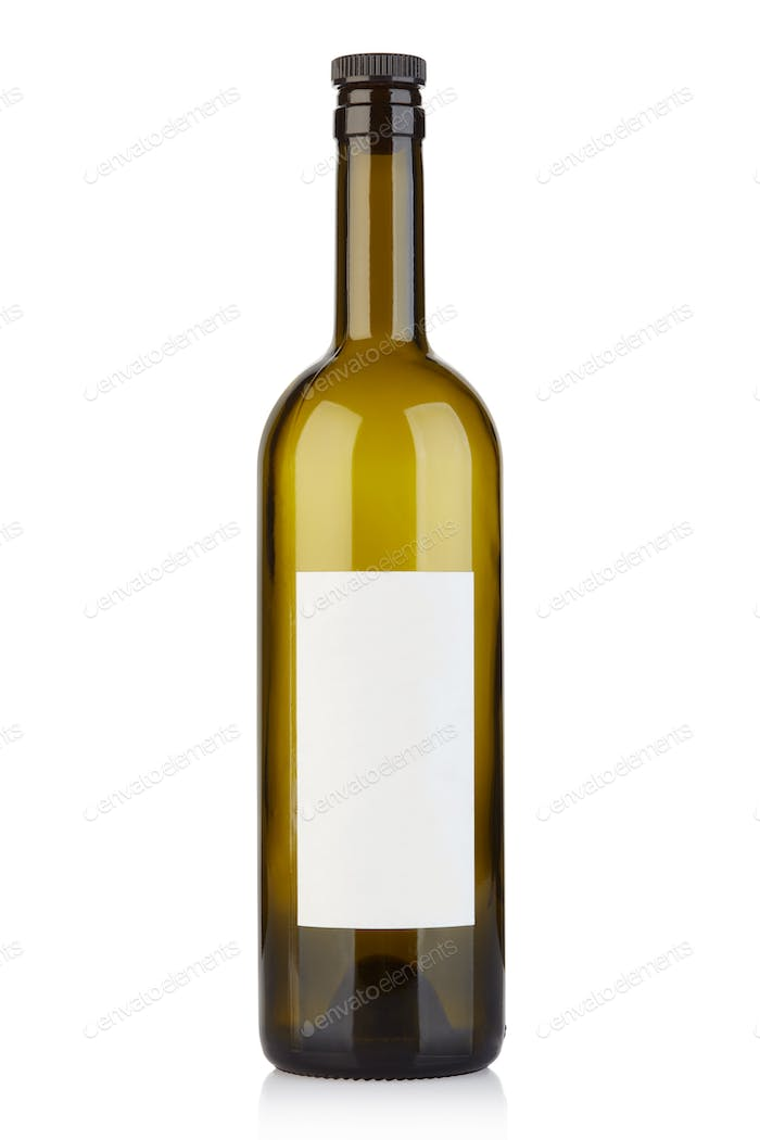 Empty wine bottle with cap and blank label isolated on white, cl
