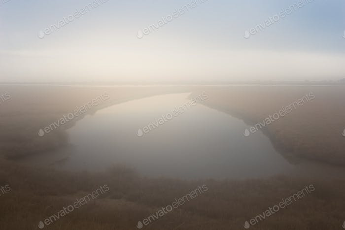 Landscape on delta of river Evros with fog, Greece