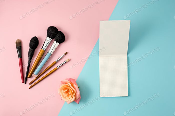 Make up brushes on colorful background