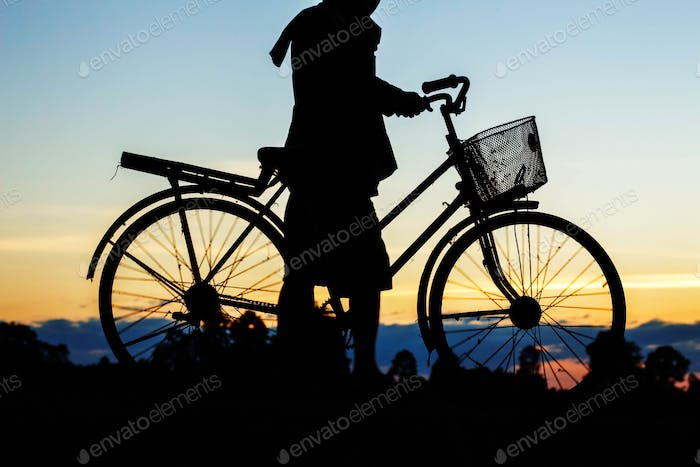 farmers are bicycle with silhouettes