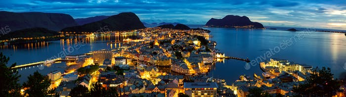 Alesund panorama at dusk