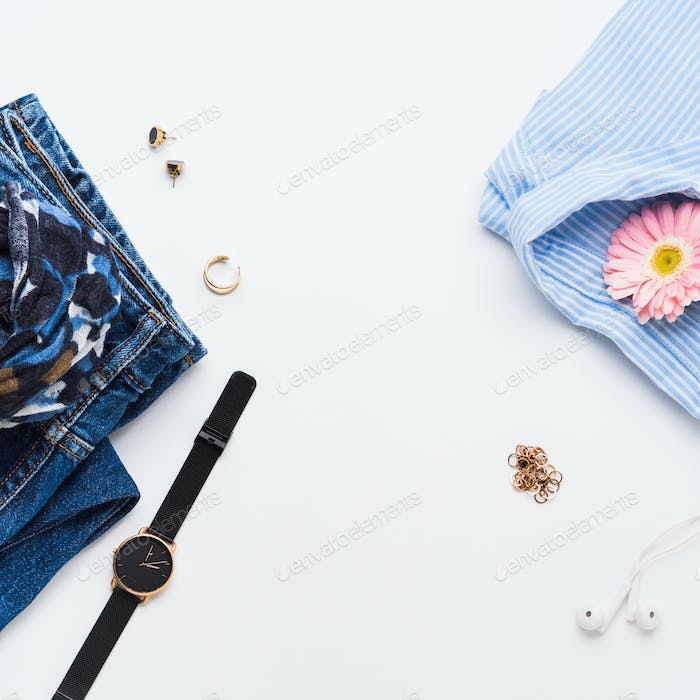 Fashion flat lay with woman clothes and accessories