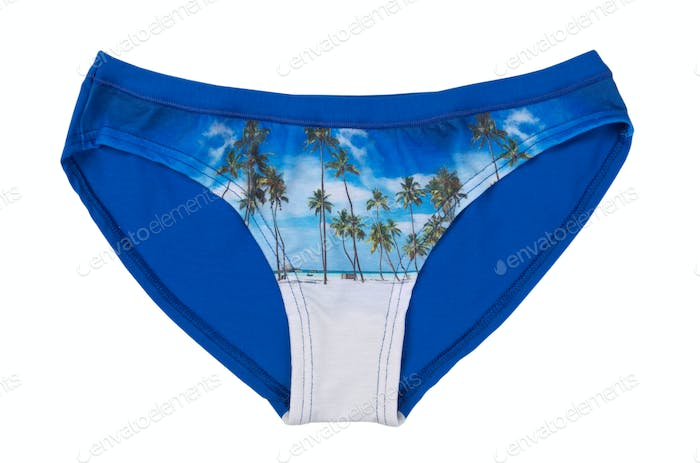 Blue shorts with a pattern, isolate