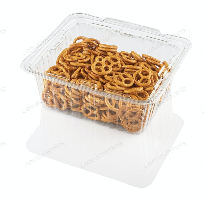 crackers in a transparent plastic container