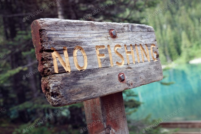 No fishing sign by lake