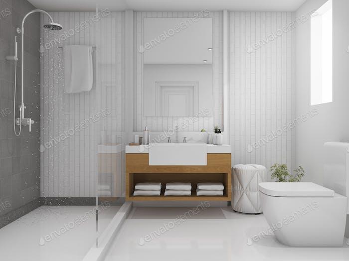 3D Rendering Ziegel minimale Toilette und Badezimmer
