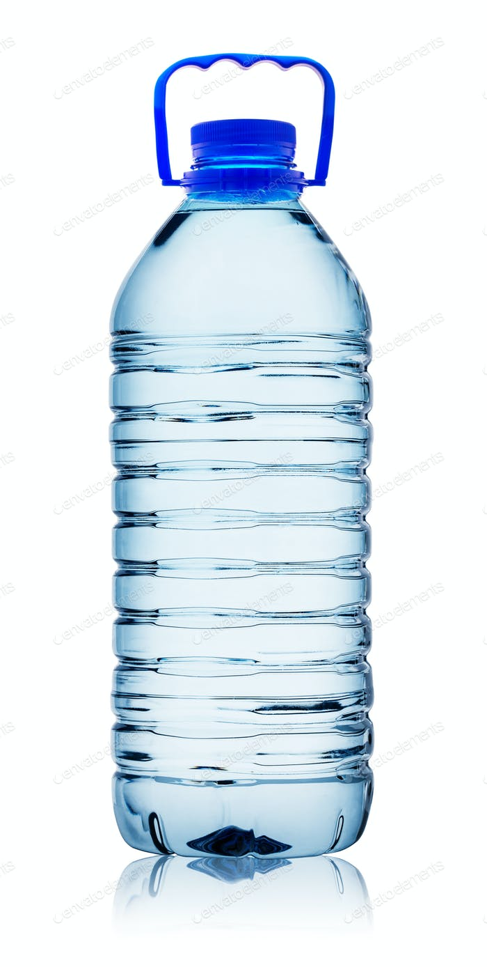 Plastic water bottle with handle