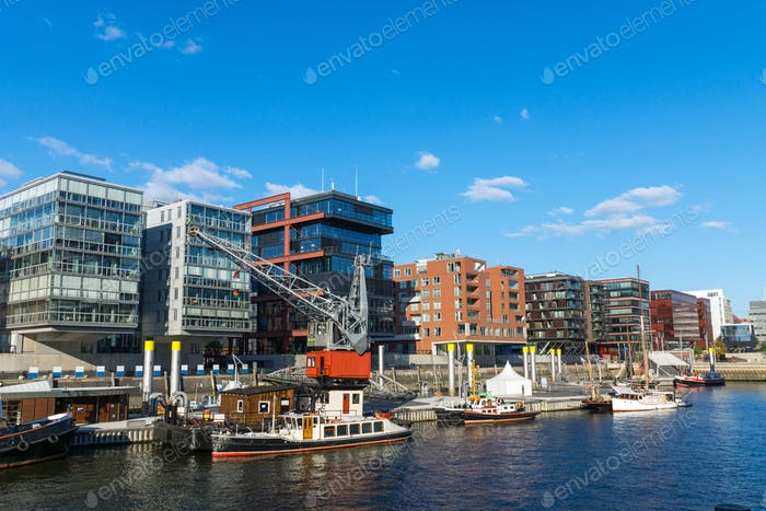 View of the Hafencity in Hamburg