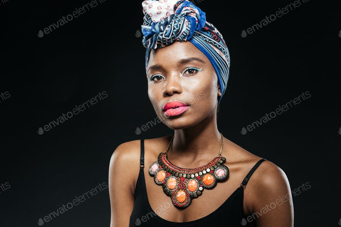 Close-up portrait of a young african fashion woman