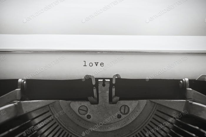"Word ""love"" written with old typewriter"