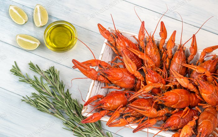 Tray with boiled crayfish