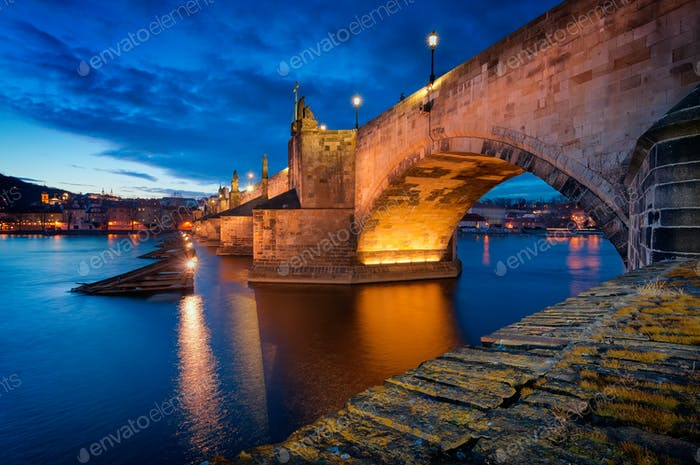 Charles Bridge sunset, Prague, Czech republic
