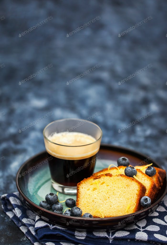 Lemon pound cake slices and cup of coffee