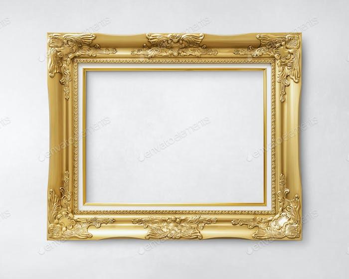 Gold vintage picture frame mockup