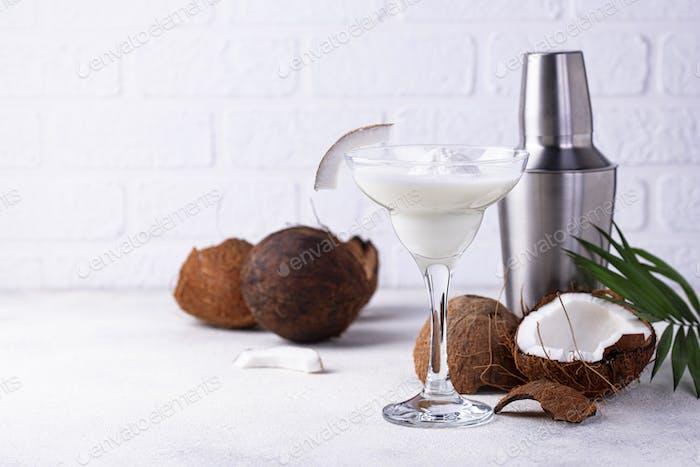 Coconut Margarita cocktail with ice cream