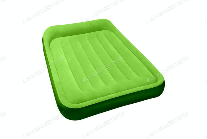 green air mattress isolated