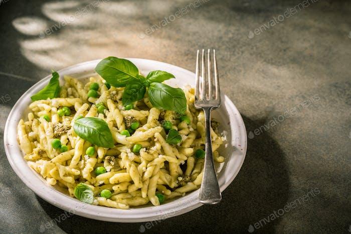 Homemade pasta trofie