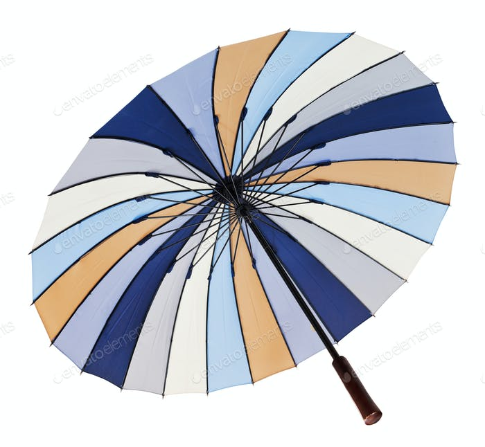 view from below of open striped umbrella