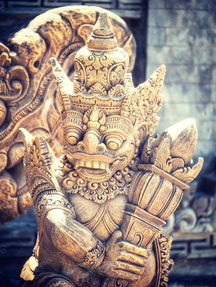 Stone sculpture on entrance door of a temple
