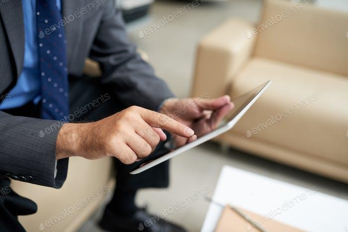 Businessman using app