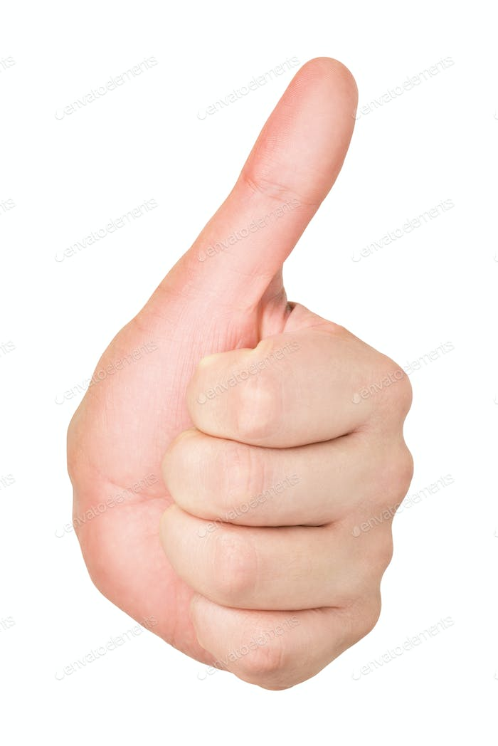 Male hand with thumb up isolated