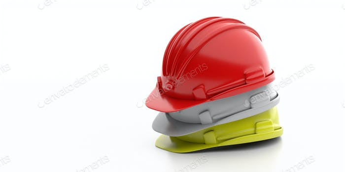 Safety hard hats stack isolated on white background, copy space. 3d illustration