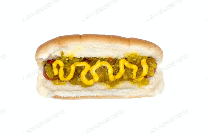Hotdog with mustard and relish