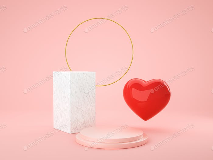 Heart love symbol 3d and geometry podium for display product, present and advertising. 3D rendering